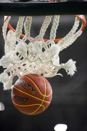 Rio de Janeiro, Brazil - november 01, 2018: basketball ball coming out of basketball net during match.