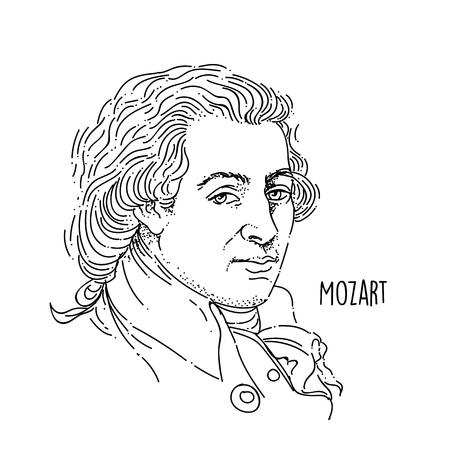 Illustration pour Wolfgang Amadeus Mozart Line Art Portrait - image libre de droit