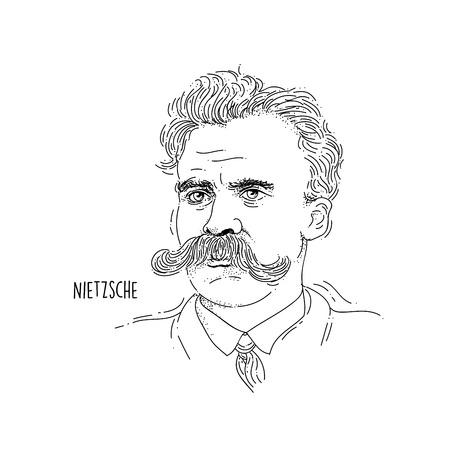 Illustration pour Friedrich Nietzsche Line Art Portrait - image libre de droit