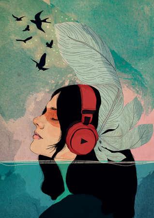 Photo pour Illustrated portrait girl listening to music underwater - image libre de droit