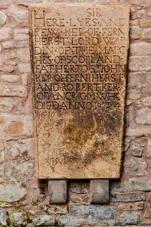 Medieval memorial tombstone dated to 1524 at Jedburgh Abbey dated back to 1138 and is in ruins nowadays in the Scottish Borders, Scotland.