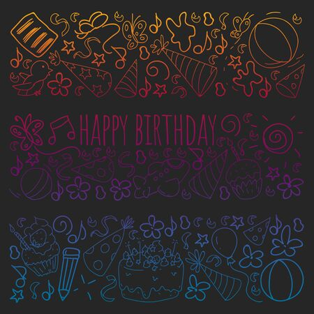 Illustration for Vector set of cute creative illustration templates with birthday theme design. Hand Drawn for holiday, party invitations. Drawing on blackboard in gradient style. - Royalty Free Image