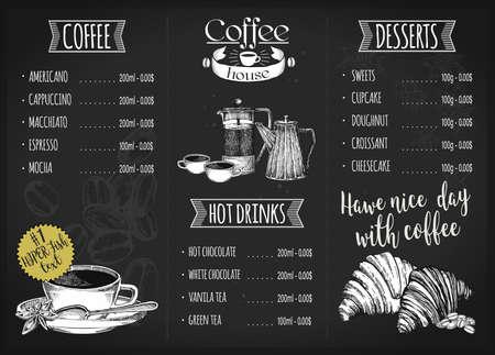 Illustration pour Restaurant menu design. Coffee restaurant brochure vector, coffee shop menu design. - image libre de droit