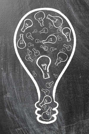 synergy  huge bulb made of small ones on chalk board