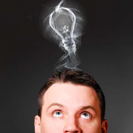 male head with bulb, idea concept