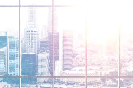 Foto de view from office window on modern city - Imagen libre de derechos