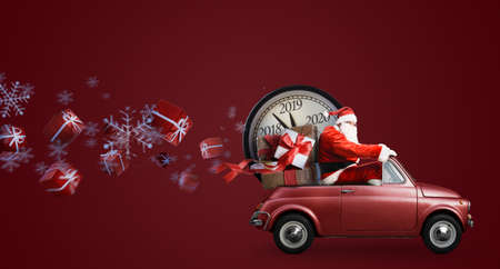 Photo pour Christmas countdown arriving. Santa Claus on car delivering New Year gifts and clock at red background - image libre de droit
