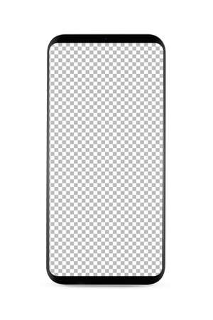 Photo pour bezel-less smartphone with blank transparent screen, isolated on white background . Screen is cut out with path - image libre de droit