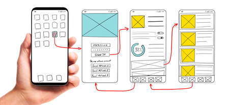 Photo pour UI development. Male hand holding smartphone with wireframed user interface screen prototypes of a mobile application on white background. - image libre de droit