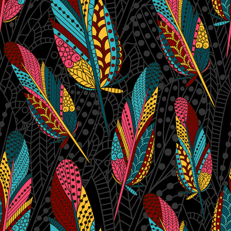Hand drawn seamless pattern with feathers. Colorful background. Pattern can be used for fabric, wallpaper or wrapping.