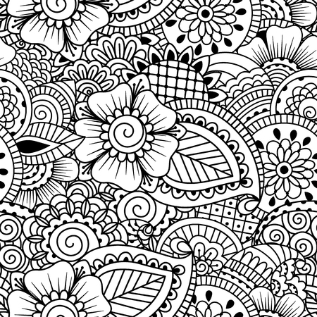 Illustration pour Seamless black and white pattern. Ethnic henna hand drawn background for coloring book, textile or wrapping. - image libre de droit