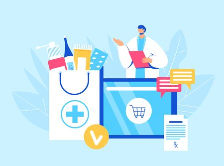 Illustration pour Online pharmacy concept. Pharmacist helps to collect an order on the site. Gadget with medicine shopping bag. Vector illustration - image libre de droit