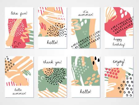 Illustration pour Abstract hand drawn colourful backgrounds set. Vector illustration. - image libre de droit