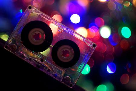 Photo pour Audio tapes for tape recorder 70s 80s 90s bokeh vintage fashion old retro wallpaper background closeup nostalgia music sound style - image libre de droit