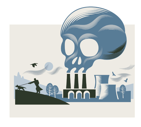 Illustration pour Illustration of a smoke cloud in the shape of a skull above a coal-fired power station - image libre de droit