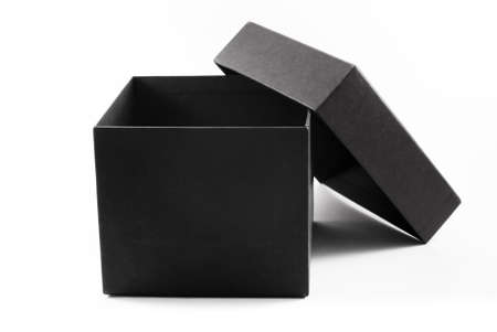 Close-up of an open black gift box, isolated