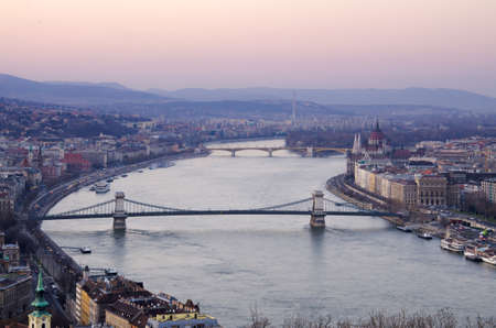 In evening of Budapest, Hungary from Gellert hill.