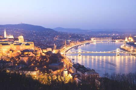 Night of Budapest, Hungary from Gellert hill.