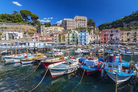 Photo for Small fishing boats at harbor Marina Grande in Sorrento, Campania, Amalfi Coast, Italy. - Royalty Free Image