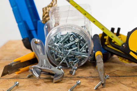 a Collection of Contractor's Tools on a bright background