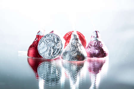 Photo for foil wrapped chocolate candies - Royalty Free Image