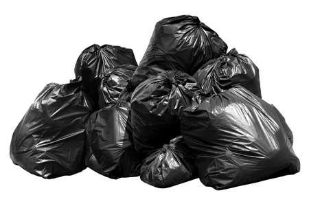 Photo pour bin bag garbage, Bin,Trash, Garbage, Rubbish, Plastic Bags pile isolated on background white - image libre de droit