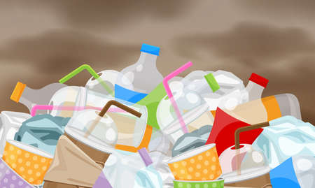 Illustration pour garbage waste plastic many on pollution sky background, pile of bottles plastic garbage waste many, plastic bottle paper cup waste dump, garbage environment problem and atmosphere air polluted - image libre de droit