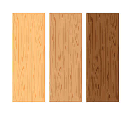Illustration pour wood board isolated on white background, planks wood brown various types horizontal, empty wooden plank board for copy space, plank light brown and dark brown set - image libre de droit