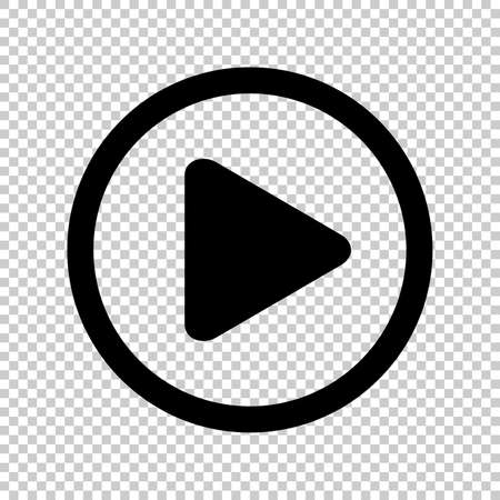 Ilustración de circle play icon for video isolated and transparent, flat button play media, icon play for music and video app, simple black play sign for ui application audio or movie, player button of interface - Imagen libre de derechos