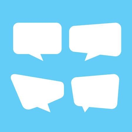 Illustration pour white speech bubble isolated on blue, speech balloon square sign for communication symbol, doodle white speech bubble for talk text,  balloon message icon, dialog chatting graphic for icon talk - image libre de droit