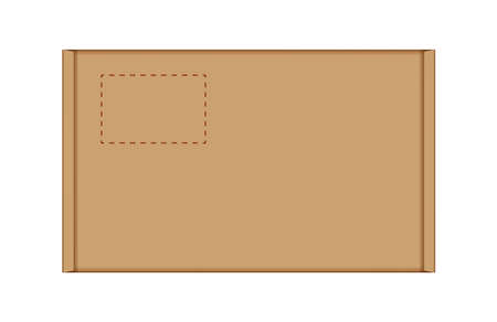 Illustration pour cardboard carton box in top view, brown box or kraft package crate box isolated on white - image libre de droit