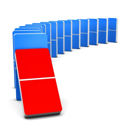 3D render Colorful Red and Blue Domino for