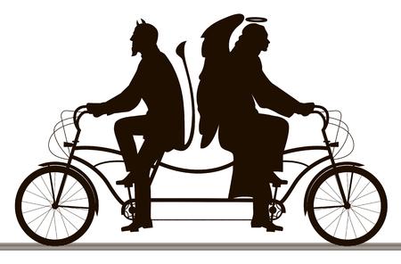 Illustration pour Angel and demon, good and evil, silhouettes on white. - image libre de droit
