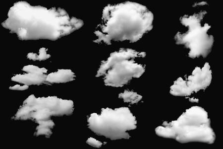 Photo pour Set of clouds white fluffy on isolated elements black - image libre de droit