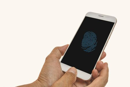 Photo for Men  fingerprint scanning on smartphone with  white - Royalty Free Image