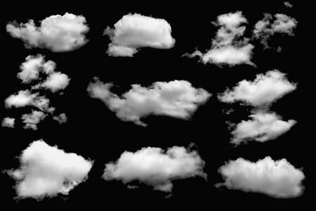 Photo pour Group of clouds white  for design on a isolated elements black background. - image libre de droit