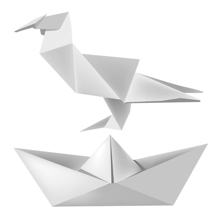 Illustration of folded paper model bird and boat