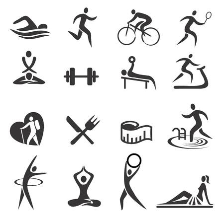 Foto de Icons with sport and healthy lifestyle activities. Vector illustration. - Imagen libre de derechos