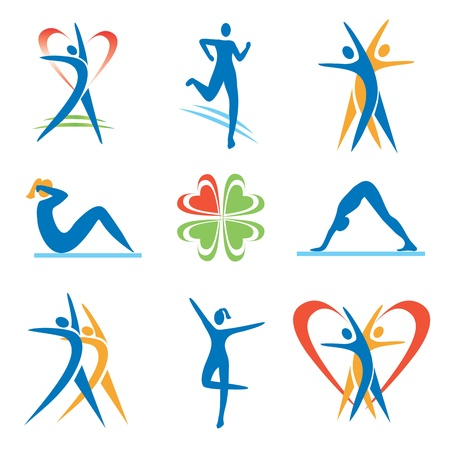 Icons with fitness and healthy lifestyle activities. Vector illustration.