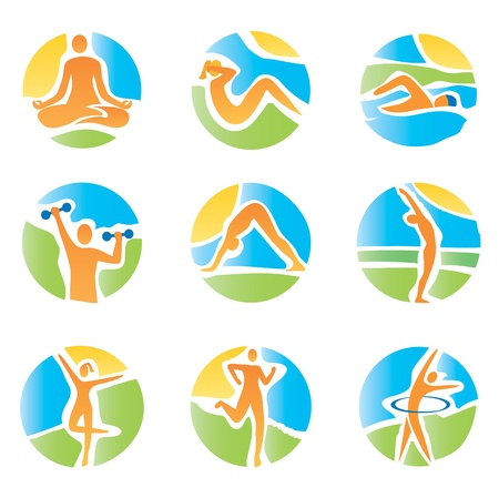 Colorful icons with fitness and healthy lifestyle activities on an abstract landscape background  Expressive watercolor imitating vector illustration