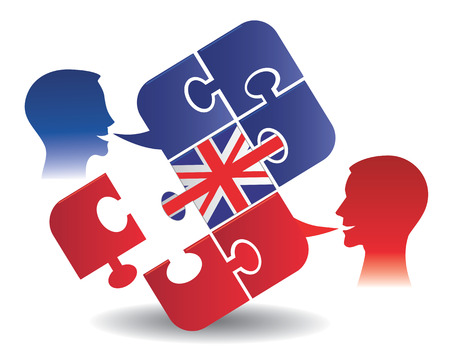 Two students and Puzzle bubble talk with a British flag symbolizing English conversation Vector illustration