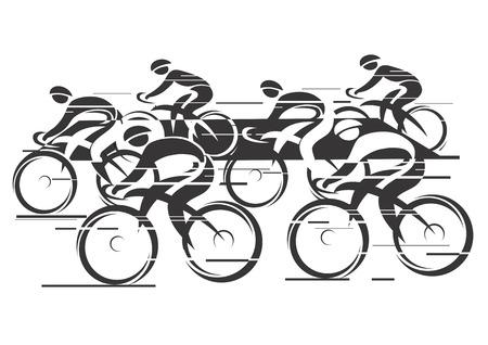 Illustration pour Black white background  - cycling race with six bike riders   Illustration   - image libre de droit