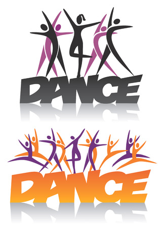 Word dance with silhouettes of dancers. Vector illustration.