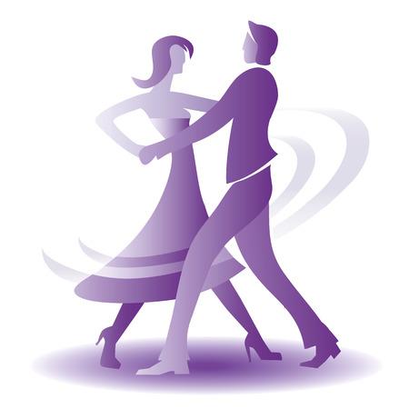 Young couple dancing ballroom dance.