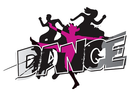 Foto de Disco and modern dancing Dancers silhouettes on the inscription Dance and grunge black background . Vector illustration. - Imagen libre de derechos
