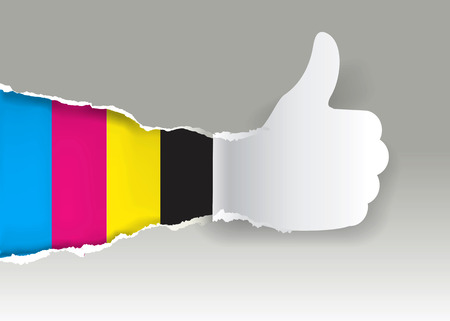 Paper silhouette Gesturing  thumbs up with print colors.