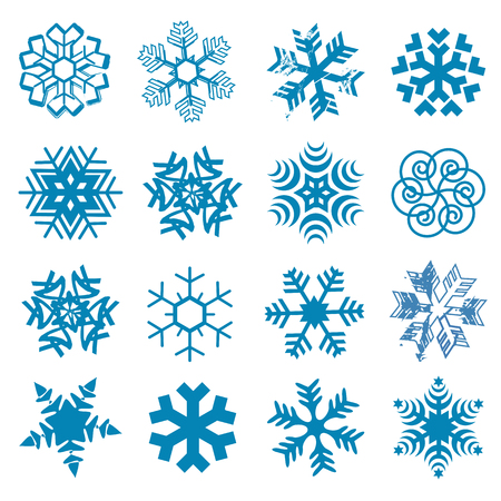 Set of original stylized snow flakes on the white background. Vector available.
