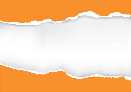 Illustration pour Orange ripped paper. Illustration of orange ripped paper with place for your image or text. Vector available. - image libre de droit
