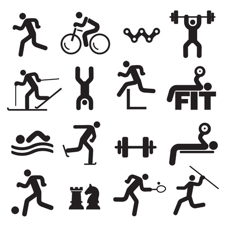 Illustration pour Sport fitness icons. Black Icons with sport, fitness and healthy lifestyle activities. Vector available. - image libre de droit