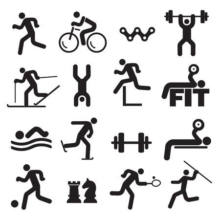 Ilustración de Sport fitness icons. Black Icons with sport, fitness and healthy lifestyle activities. Vector available. - Imagen libre de derechos